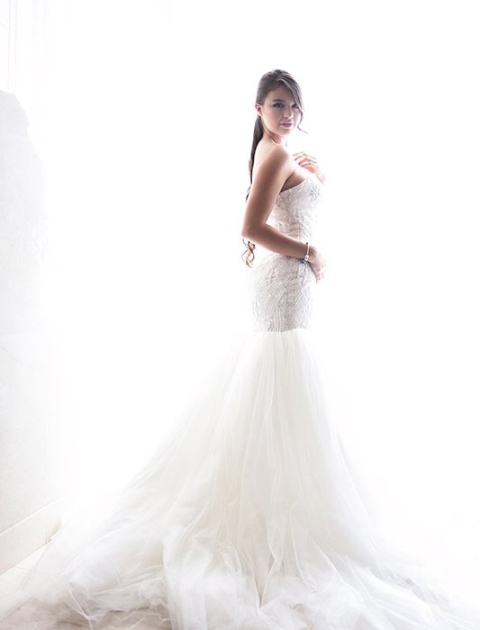 Photo of the bride in a luxurious white dress